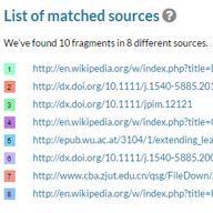 Liste med sammenfaldende kilder